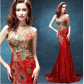 Wholesale Fashion long prom dress 30025 Red