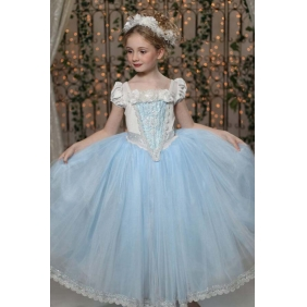 Wholesale Kids fashion prom dress with the 4-piece set accessories PQ1571 Blue