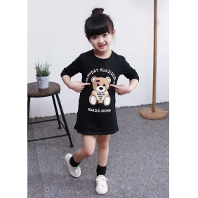 Wholesale Fashion kids long blouse dress PQ1576 Black
