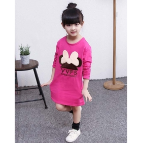 Wholesale Fashion kids long blouse dress PQ1579 Rose pink