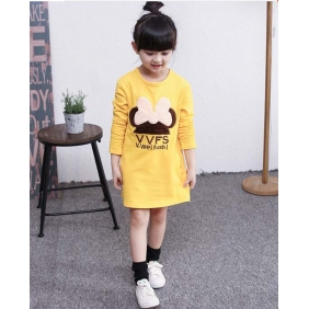 Wholesale Fashion kids long blouse dress PQ1579 Yellow