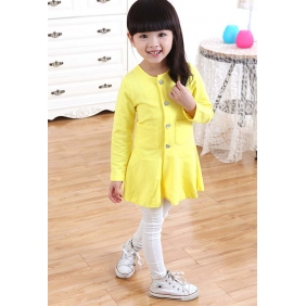 Wholesale Fashion kids long blouse dress PQ1580 Yellow
