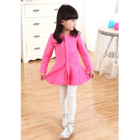 Wholesale Fashion kids long blouse dress PQ1580 Rose pink