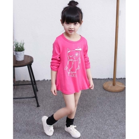 Wholesale Kids long blouse dress PQ1584 Rose pink