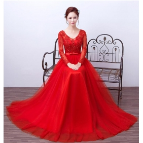 Wholesale Fashion long evening dress 50216 Red