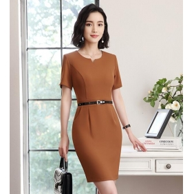 Wholesale One-piece dress with the belt S2206