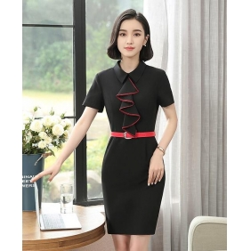 Wholesale One-piece office dress with the belt S2214
