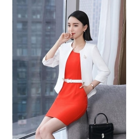 Wholesale 2-Piece set office dress with the belt and brooch S2218