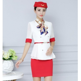 Wholesale Fashion office 2-piece set dress with the cap, belt and scarf S2251