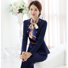 Wholesale Fashion 2-piece set office suit with the belt and scarf S2253