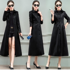 Wholesale Fashion long leather coat W5708