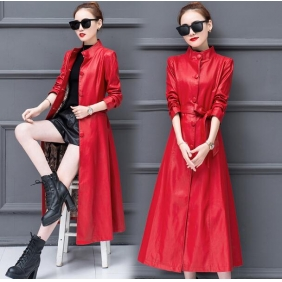 Wholesale Fashion long leather coat W5711