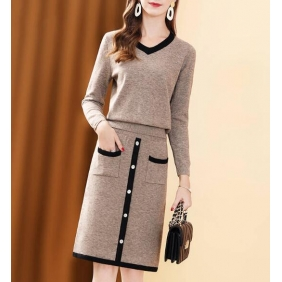 Wholesale Fashion 2-piece set knit dress A22288