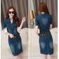 Wholesale Fashion denim dress with the belt A14720