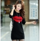 Wholesale Fashion sweater long knit blouse dress A14776 Black+Red