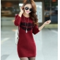 Wholesale Fashion sweater long knit blouse dress A14776 Red
